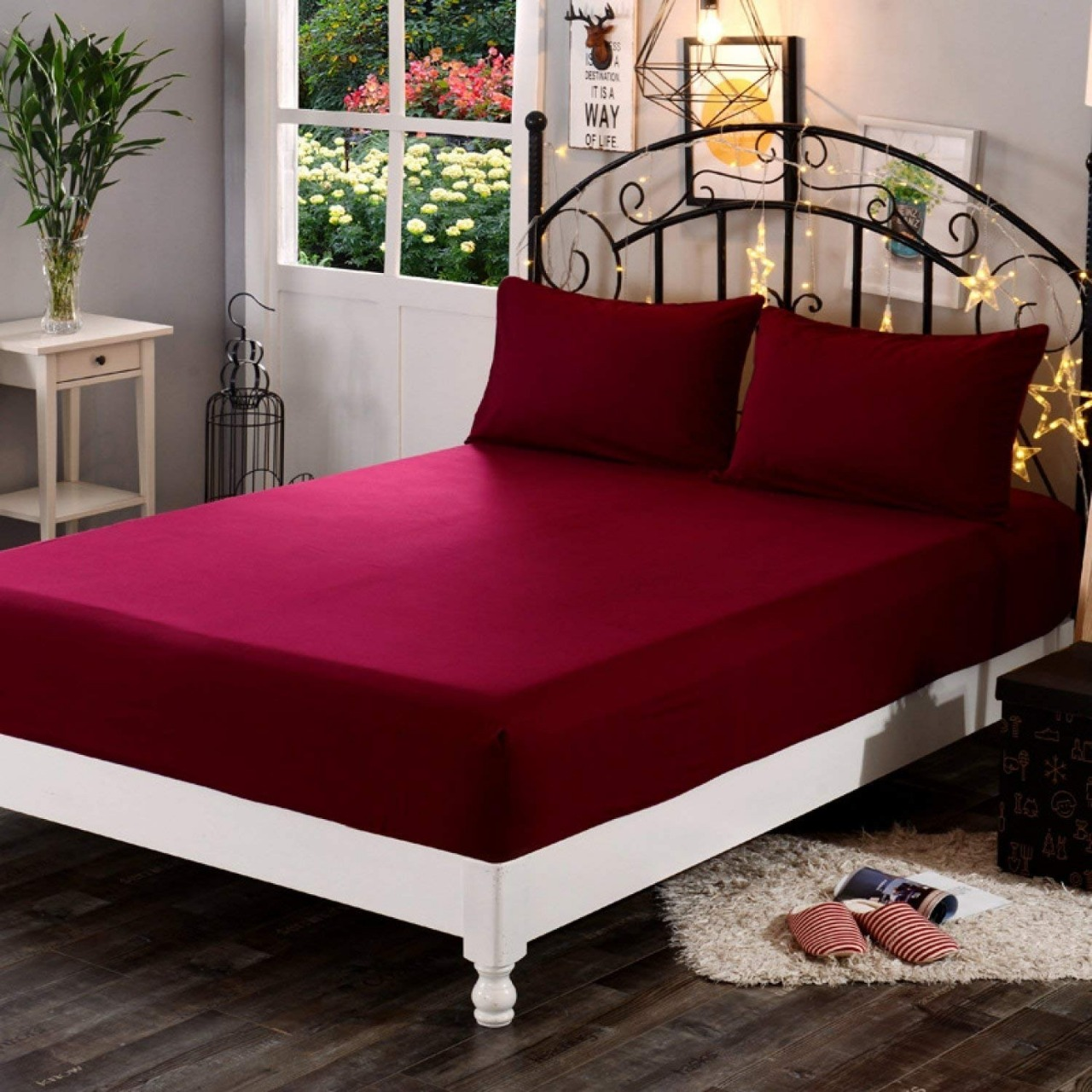 best point global solution Elastic Strap Double Size Waterproof Mattress Protector  (Red)